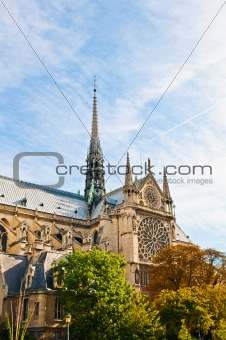 beautiful view Notre Dame Cathedral in paris
