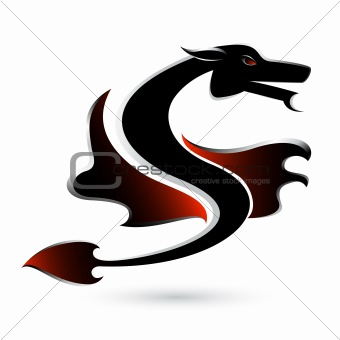 Abstract black dragon
