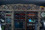 Close-up of old cockpit control panel of airplane