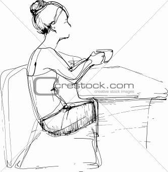 sketch girl drinking tea at the table