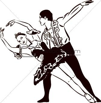 sketch ballet dancing couples