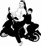 girl on a motor scooter driven by a boy