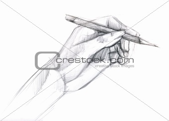 a pencil is in a hand