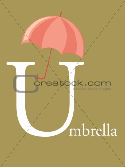 Colorful abc, letter U