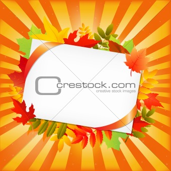 Autumn Leafs And Blank Gift Tag