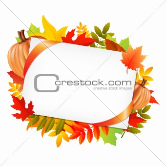 Autumn Leafs And Blank Gift Tag With Pumpkins