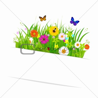 Paper Sticky With Grass And Flowers