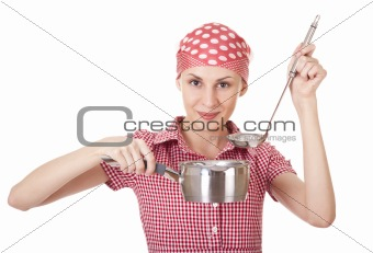 Housewife in headscarf with ladle and pan