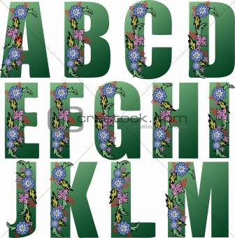 Green Alphabet with flowers