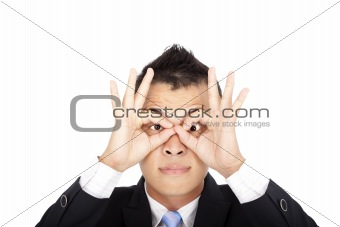 businessman looking and funny posing