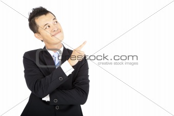 smiling businessman pointing and Isolated on white