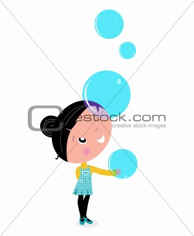 Little Girl playing with blue Soap Bubbles isolated on white