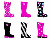 Fresh & colorful rain wellies boots isolated on white