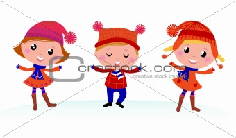 Cute winter kids group isolated on white