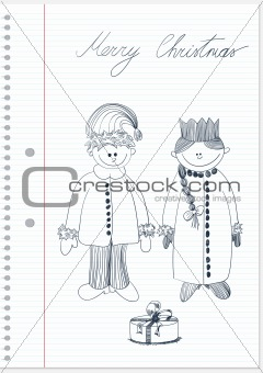 Sketch with Santa Claus and Snow Maiden