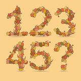 12345? Vector colorful font.