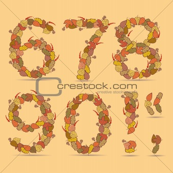 67890! Vector colorful font.