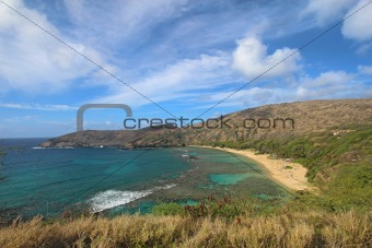 Wide-angle view of Hanauma Bay, Hawaii