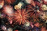 Multicolored fireworks horizontal