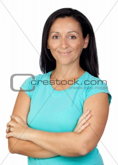 Adorable woman with blue t-shirt