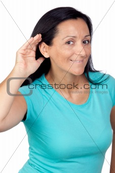 Adorable woman with blue t-shirt hearing something