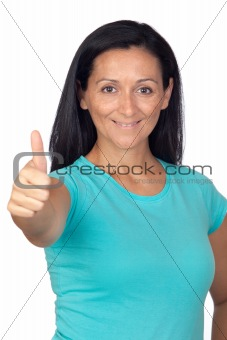 Adorable woman with blue t-shirt saying Ok