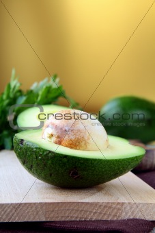 fresh and ripe cut avocado