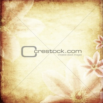 Old papers background with flowers