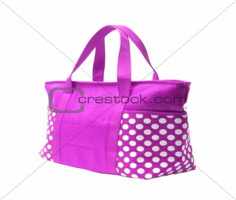 bright pink striped beach bag isolated on white