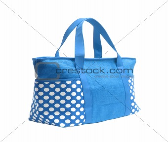 bright blue striped beach bag isolated on white