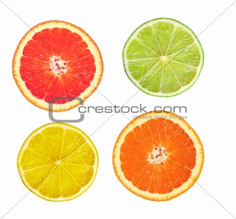 sliced pink grapefruit, lime, lemon and orange isolated on white