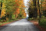 Quiet country road on a beautiful autumn day