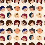 cartoon family head seamless pattern