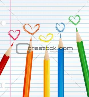 abstract retro vector paint pencils