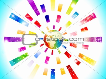 abstract colorful globe with rectangle concept