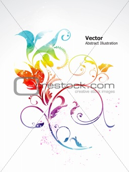 abstract colorful shiny rainbow floral