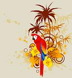summer background with palm and parrot