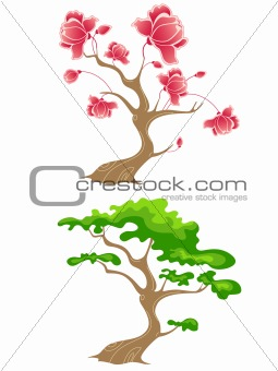 green and flowering tree