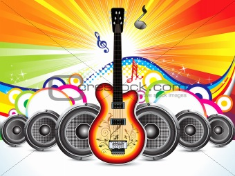 abstract colorful guitar with sound concept