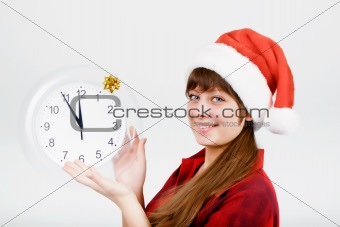 attractive girl with a clock