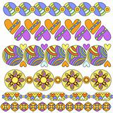 Colorful trim or border collection with hearts and flowers