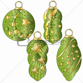 Green bauble collection with glossy golden stars and dots