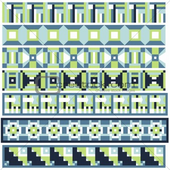 Green and blue trim or border collection over white background