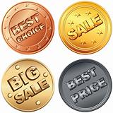 Vector Set of gold, silver, bronze coin, price tags and sale sig