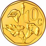 vector money South African gold coin, ten cents a flower aloe
