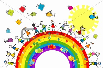 Doodle kids playing on a rainbow
