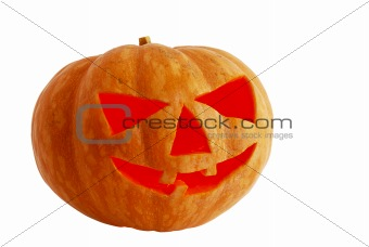 Halloween jack o lantern lighted inside