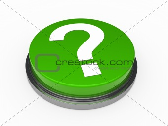 3d green questionm mark button