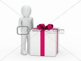 3d man gift box