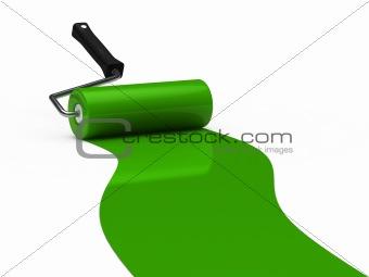3d paint roller green